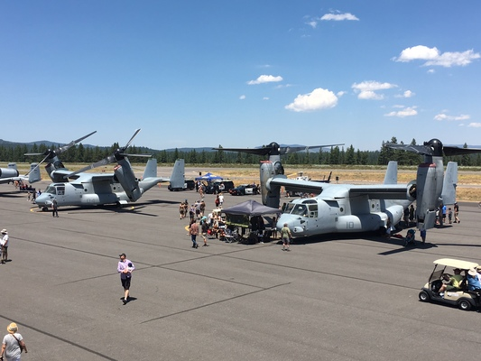 Slider airshow ospreys 2 on ramp with attendees