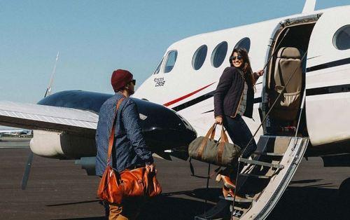 Large charter flight boarding